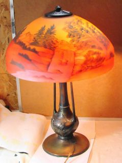 Large Bronze Base Reverse Painted Lamp Waterfall and Mountains