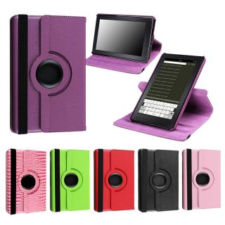Color for Kindle Fire 360 Degree Leather Case Cover Charger P