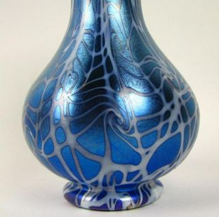 Durand Blue and White iridescent King Tut Pattern Art Glass Vase
