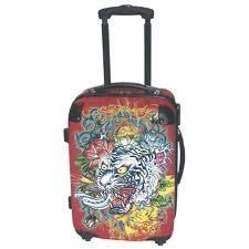 Ed Hardy White Tiger Travel Hard Case Luggage Red