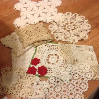 of 11 Linen Table Runners Dresser Scarves Tatted Doilies 30S