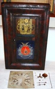 VTG ANTIQUE E.N. WELCH SPRING SHELF CLOCK MINI OGEE MILITARY PATRIOTIC
