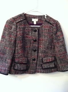 Ann Taylor Loft Petites Black White Red Tweed 4 Button Lined Blazer