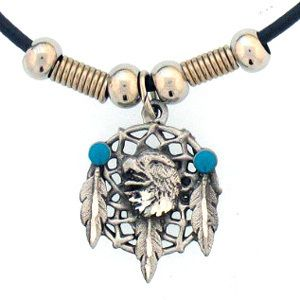 Eagle Head Dream Catcher and Feathers Earth Spirit Necklace New Carded