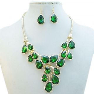 Elegant Lots Drop Necklace Earring Set Green Rhinestone Crystal