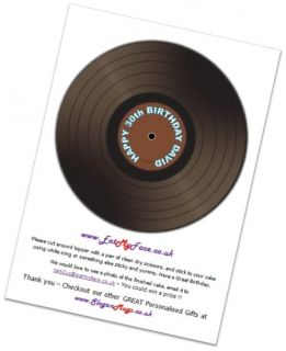 Vinyl Record Disc Edible Rice Paper Birthday Cake Topper 7 5