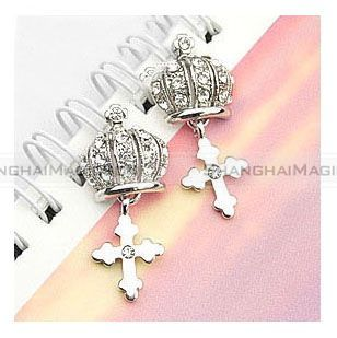 Stereoscopic Crown Cross Diamond Ear Pin Earring FAEAR151