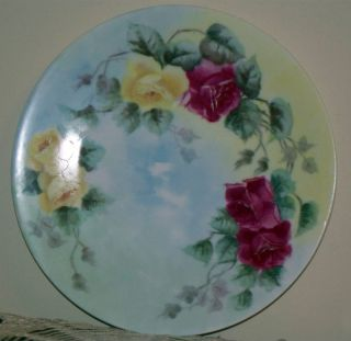 Antique T V Limoges France 81 2 Hand Painted Pink Yellow Roses Plate