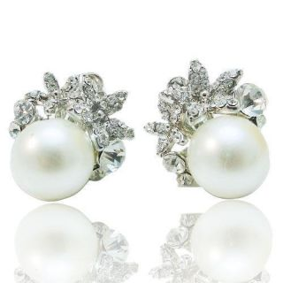 Bridal Floral Faux Pearl Clip on Earring Rhinestone Crystal Clear