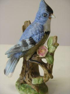 Ceramic Blue Jay Bird on Branch Animal Figurine