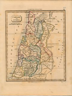 Canaan or Judea Palestine Holy Land C 1828 Antique Map w Old Hand