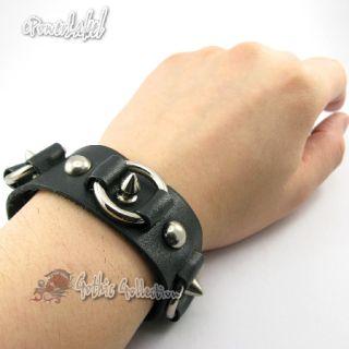 H304 Steel Ring and Stud Punk Bracelet Black Leather Men Women