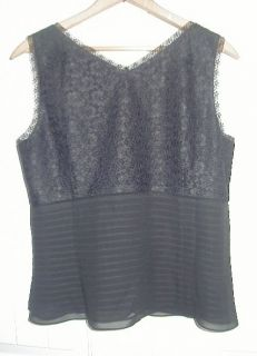 Ann Taylor Black Lace Silk Tank Top Blouse Size 10 Shell Shirt Brooch