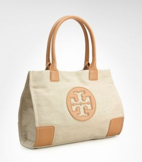 NWT Tory Burch Ella Logo Tote Bag Tan Gold Canvas