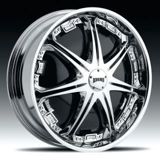 22 Dub Spin Stallion Wheel Set 22x9 5 Chrome Spinner Rims for rwd 5 6