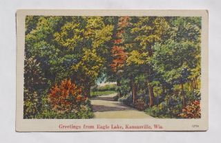 1945 Country Road Greetings from Eagle Lake Kansasville Wi Racine Co