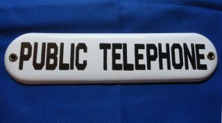 Vintage Porcelain Public Telephone Sign Excellent Condition