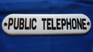 Vintage Porcelain Public Telephone Sign Excellent Condition
