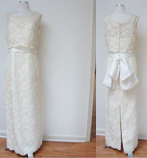 VINTAGE LADY ELEANOR LACE PEARL BEAD IVORY LINED WEDDING DRESS GOWN
