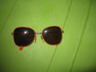 Red Enameled Metal Gold Frames Sunglasses Reading