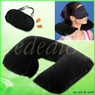 Black Travel Neck Inflatable Air Pillow + Eye Mask + 2 Ear Plugs