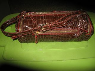 Bath and Body Works Brown Patent Reptile Design Duffle Bag Purse Tote