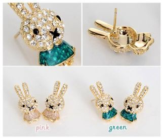 Vintage Green Earring Dangle Rabbit Crystals Stud Ear Pin Jewelry