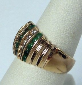 Effy Collection BH14K Gold 1 50 Ct Natural Emerald Diamond Wide Band