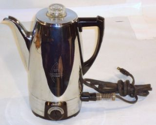 SUNBEAM COFFEEMASTER ELECTRIC 8 CUP PERCOLATOR COFFEE POT Works EXC