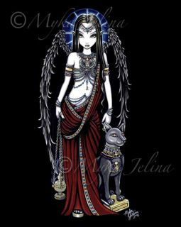 Egyptian Angel Art Gothic Bastet Fairy Print Nefertari