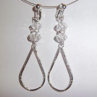 Clip on 2 5Clear Silver Glass Crysal eardrop Earrings J307 Juicebox