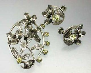 Antique Sterling Silver Broach Earring Set Van Dell 31