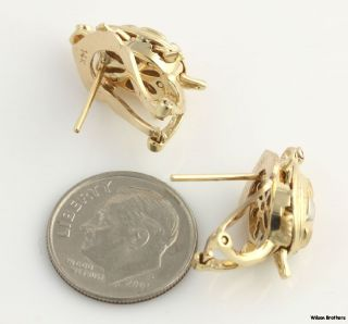 Moveable Tri Toned Turtle Earrings   14k Gold Syn Ruby French Backs