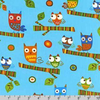 ON A WHIM 2 Cute Owl Earth Amy Schimler Fabric