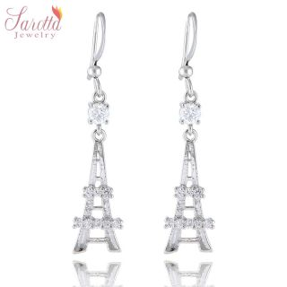 FASHION JEWELRY LADY PARIS LA TOUR EIFFEL TOWER WHITE GOLD GP DANGLE