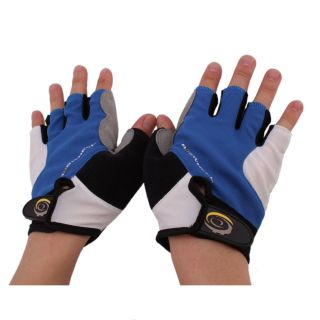 New Blue Bike Bicycle Cycling PVC Helmet + Mitten Finger Gloves XL