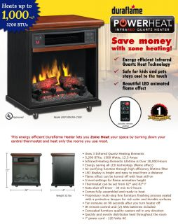 DURAFLAME Powerheat Electric Fireplace Infrared Quartz Heater