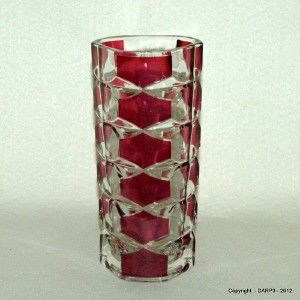 Vintage Durand Windsor Rubis Ruby Flashed Clear Crystal Glass Vase 16
