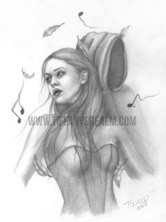 Fantasy Fairy Original Pencil Drawing Art Painting Ghost Dark Goth