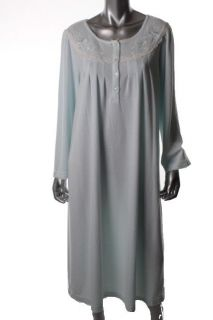 Miss Elaine New Blue Honeycomb Long Sleeves Lace Trim Nightgown