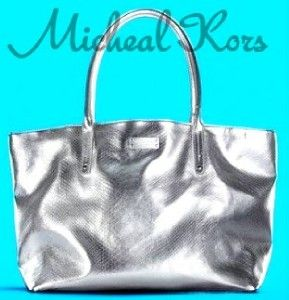 Michael Kors Signature Weekender Python Silver Tote Bag Free Same Day