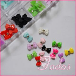 3D Bowknot Bow Tie with Rhinestone Glitter Nail Art Decoration