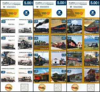 ECUADOR 2012 RAILWAY LOCOMOTIVES TRAIN BALDWIN GEC ALSTHOM SET OF 3