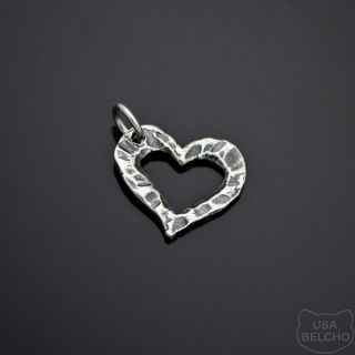 925 Sterling Silver Hammered Heart Charm Pendant Belcho USA 144