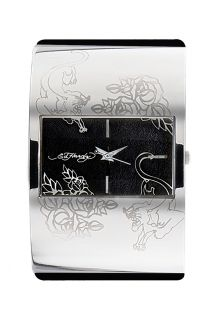 sku ic bk this ed hardy ic bk braclet watch features a wide