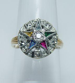Fine Vintage Diamond Eastern Star Ring 14k White Gold Estate Jewelry