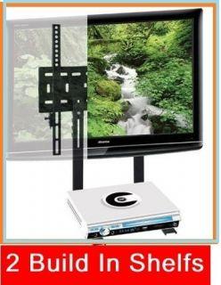 Tier Shelf Tilt Wall Mount Bracket Under TV Dual Shelves DVD Bluray