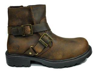Skechers New Cinder Twist Dark Brown Leather Ankle Boots 60477 CDB Men