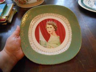 Smith & Taylor Queen Elizabeth II Plate 1953 Painted By Allen Hughes