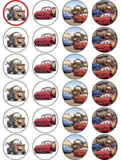 24 x Cars Mater McQueen Edible Rice Paper Cake Toppers